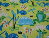 Flannel Fabric - Frogs, Turtles and Fish on Yellow - By the yard - 100% Cotton Flannel