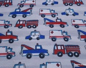 Flannel Fabric - Emergency Cars - By the yard - 100% Cotton Flannel