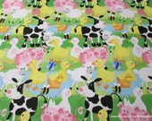 Flannel Fabric - Farm Scene Dark - By the yard - 100% Cotton Flannel