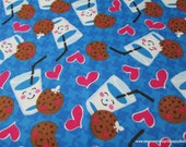 Flannel Fabric - Cookies and Milk - By the yard - 100% Cotton Flannel