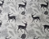 Flannel Fabric - Deer Gray - By the yard - 100% Cotton Flannel