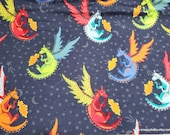 Flannel Fabric - Fire Breathing Dragons - By the yard - 100% Cotton Flannel