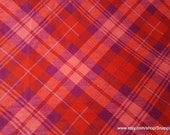 Flannel Fabric - Coral Plaid - By the yard - 100% Cotton Flannel