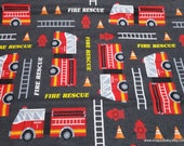 Flannel Fabric - Fire Rescue - By the yard - 100% Cotton Flannel