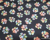 Flannel Fabric - Floral Paws - By the yard - 100% Cotton Flannel