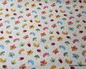 Flannel Fabric - Mini Bug and Butterfly Cream - By the yard - 100% Cotton Flannel