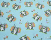 Flannel Fabric - Hedgehogs and Flowers - By the yard - 100% Cotton Flannel