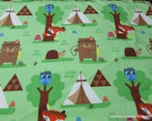 Flannel Fabric - Teepees and Animals on Green - By the yard - 100% Cotton Flannel