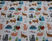 Flannel Fabric - Playful Cats - By the yard - 100% Cotton Flannel