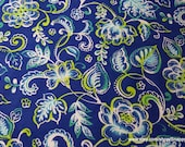 Flannel Fabric - Blue Green Floral - By the yard - 100% Cotton Flannel