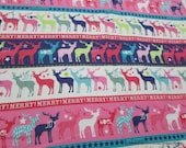 Christmas Flannel Fabric - Christmas Reindeer Stripe - By the yard - 100% Cotton Flannel