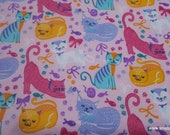 Flannel Fabric - Cats and Bows - By the yard - 100% Cotton Flannel