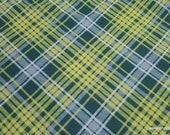 Flannel Fabric - Kate Green Yellow Plaid - By the Yard - 100% Cotton Flannel