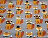Flannel Fabric - Smart Foxes on Gray - By the yard - 100% Cotton Flannel