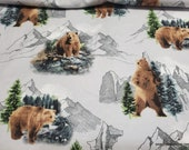 Flannel Fabric - Bear Scenic on Light Gray - By the yard - 100% Cotton Flannel