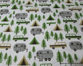 Flannel Fabric - Camping Trip on White - By the Yard - 100% Cotton Flannel