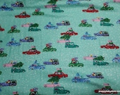Christmas Flannel Fabric - Holiday Cars on Aqua Luxe - By the yard - 30% Cotton Flannel, 70 Rayon