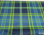 Flannel Fabric - Navy Green Plaid - By the yard - 100% Cotton Flannel