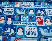 Christmas Flannel Fabric - Let it Snow Patchwork - By the yard - 100% Cotton Flannel