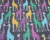 Flannel Fabric - Bright Giraffes on Gray - By the yard - 100% Cotton Flannel