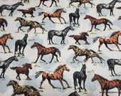 Flannel Fabric - Horses on White - By the Yard - 100% Cotton Flannel