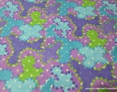 Flannel Fabric - Camo Dots Purple Blue Green - By the yard - 100% Cotton Flannel
