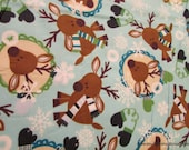 Christmas Flannel Fabric - Winter Deer - By the yard - 100% Cotton Flannel