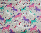 Flannel Fabric - Stars and Hearts Unicorns - By the yard - 100% Cotton Flannel