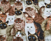 Flannel Fabric - Photo Real Cats - By the Yard - 100% Cotton Flannel