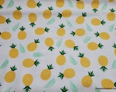 Flannel Fabric - Pineapple Tossed on White - By the yard - 100% Cotton Flannel