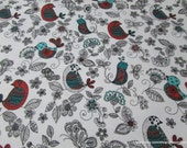 Flannel Fabric - Sketched Birdies - By the yard - 100% Cotton Flannel