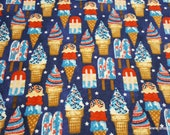 Flannel Fabric - July 4th Sweet Treats - By the yard - 100% Cotton Flannel