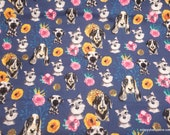 Flannel Fabric - Floral Dog Faces - By the yard - 100% Cotton Flannel