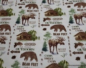 Flannel Fabric - The Great Outdoors Patch - By the yard - 100% Cotton Flannel