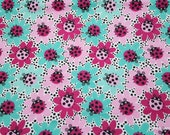 Flannel Fabric - Ladybugs and Flowers Pink Blue - By the Yard - 100% Cotton Flannel