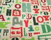 Christmas Flannel Fabric - Happy Holidays - 1 yard - 100% Cotton Flannel