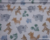 Flannel Fabric - Forest Friends Tossed on White - By the yard - 100% Cotton Flannel