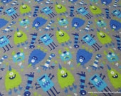 Flannel Fabric - Nighttime Monsters - By the yard - 100% Cotton Flannel