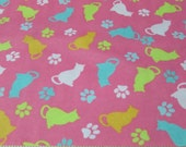Flannel Fabric - Tossed Cats Pink- By the yard - 100% Cotton Flannel
