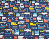 Flannel Fabric - Keep Trucking on Blue - By the yard - 100% Cotton Flannel