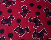 Flannel Fabric - Plaid Scotties - By the yard - 100% Cotton Flannel