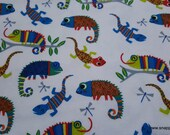 Flannel Fabric - Reptiles Multi on White - By the yard - 100% Cotton Flannel