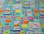 Flannel Fabric - Hashtag Emoticons - By the yard - 100% Cotton Flannel