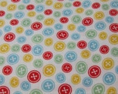 Flannel Fabric - Buttons Tossed - By the yard - 100% Cotton Flannel