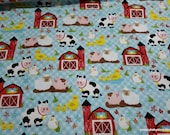 Flannel Fabric - Farm Animals and Barn - By the yard - 100% Cotton Flannel