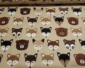 Flannel Fabric - Woodland Animal Faces in Line - By the yard - 100% Cotton Flannel