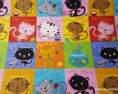 Flannel Fabric - Kitty Patch - By the yard - 100% Cotton Flannel