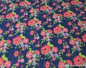 Flannel Fabric - Navy Floral - By the yard - 100% Cotton Flannel