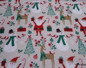 Christmas Flannel Fabric - Santa and Snowman on Tan - By the yard - 100% Cotton Flannel