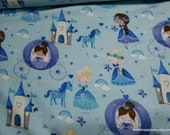 Flannel Fabric - Fairy Princess Blue - By the yard - 100% Cotton Flannel